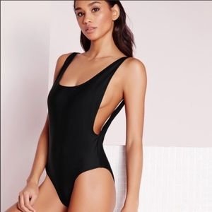 Black Scoop Back Side Cut Out One Piece Swimsuit